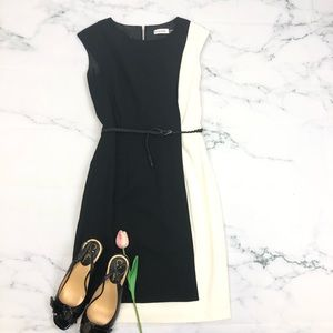 CALVIN KLEIN Black/White Color Block Sheath SZ 2